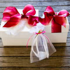 Rock Candy Box w/ Red Bow and Rose Quartz Crystal