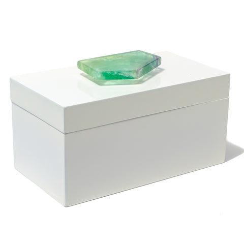 Large White Lacquer Box with Fluorite Slab