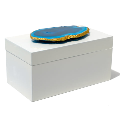 Large White Lacquer Box with Teal Agate