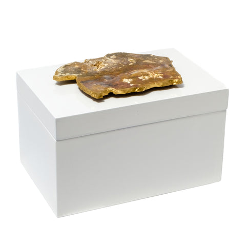Remote White Lacquer Box with Agate Slab by Mapleton Drive