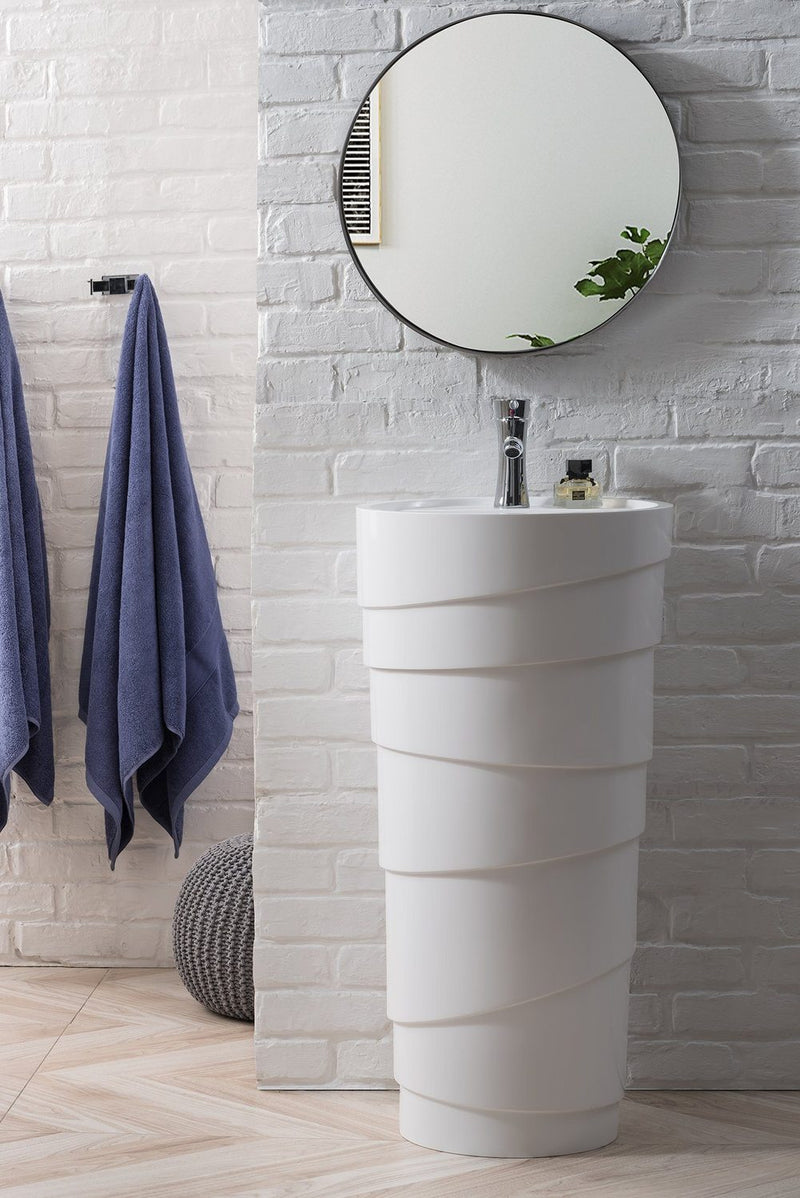 "17.5"" Quebec Solid Surface Pedestal Bathroom Sink, Bright White"