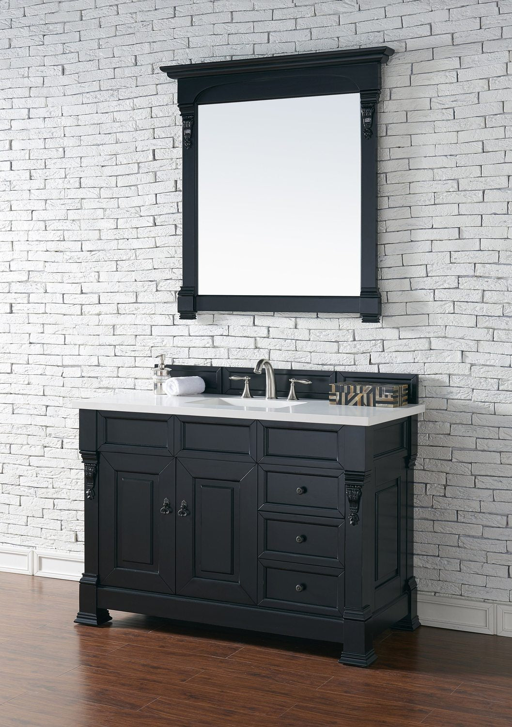 "48"" Brookfield Antique Black w/ Drawers Single Bathroom Vanity"
