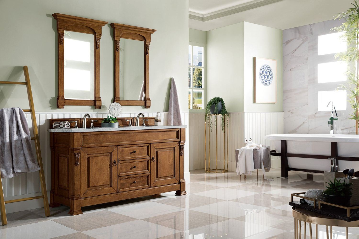 "60"" Brookfield Country Oak Double Bathroom Vanity"