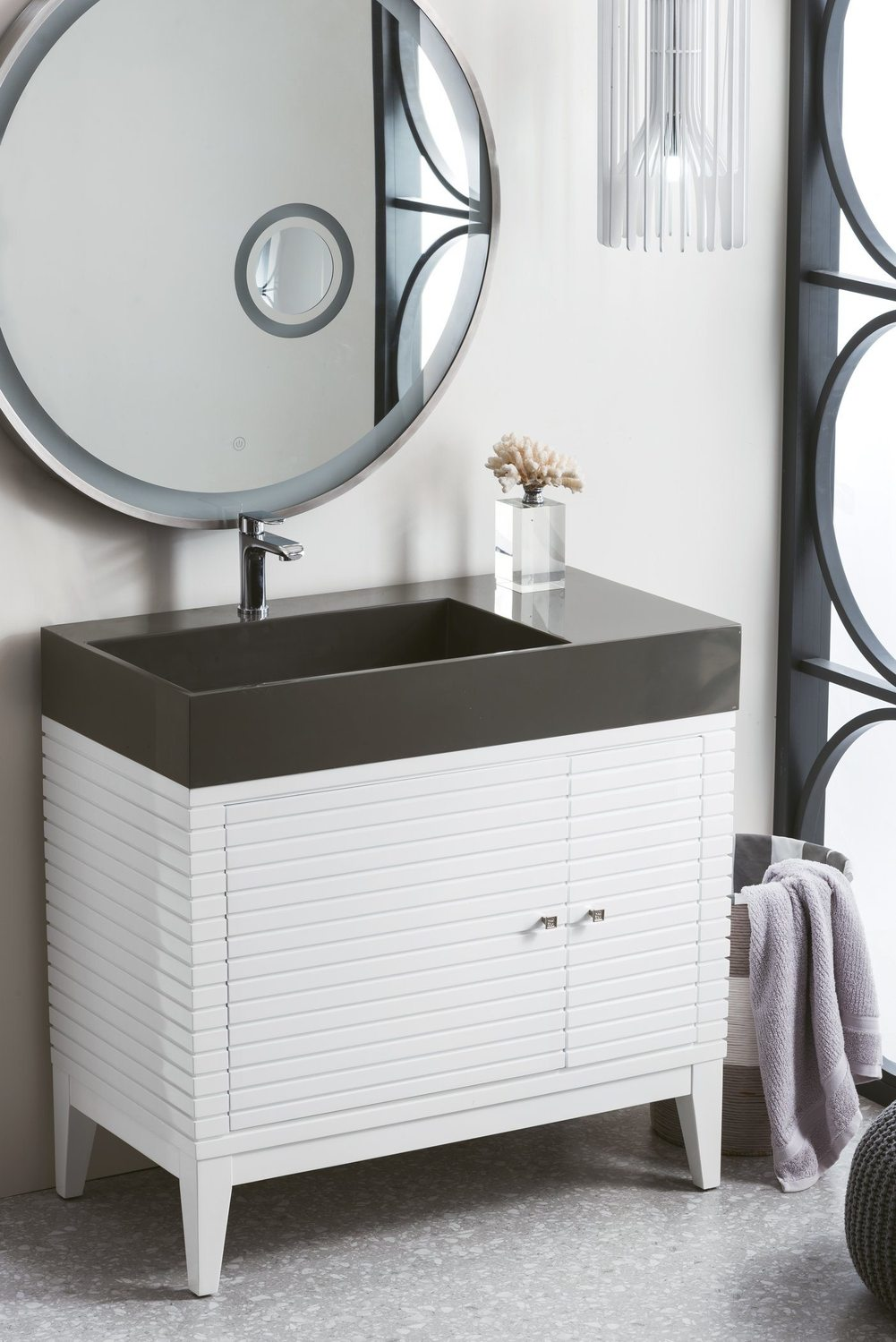 "36"" Linear Single Bathroom Vanity, Glossy White"