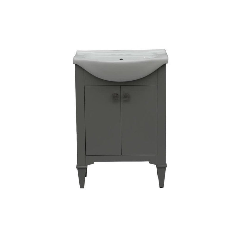 24 in bathroom vanity in gray with ceramic top
