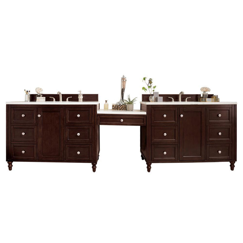 "122"" Copper Cove Encore Burnished Mahogany Double Sink Bathroom Vanity G301-V122-BNM-DU"