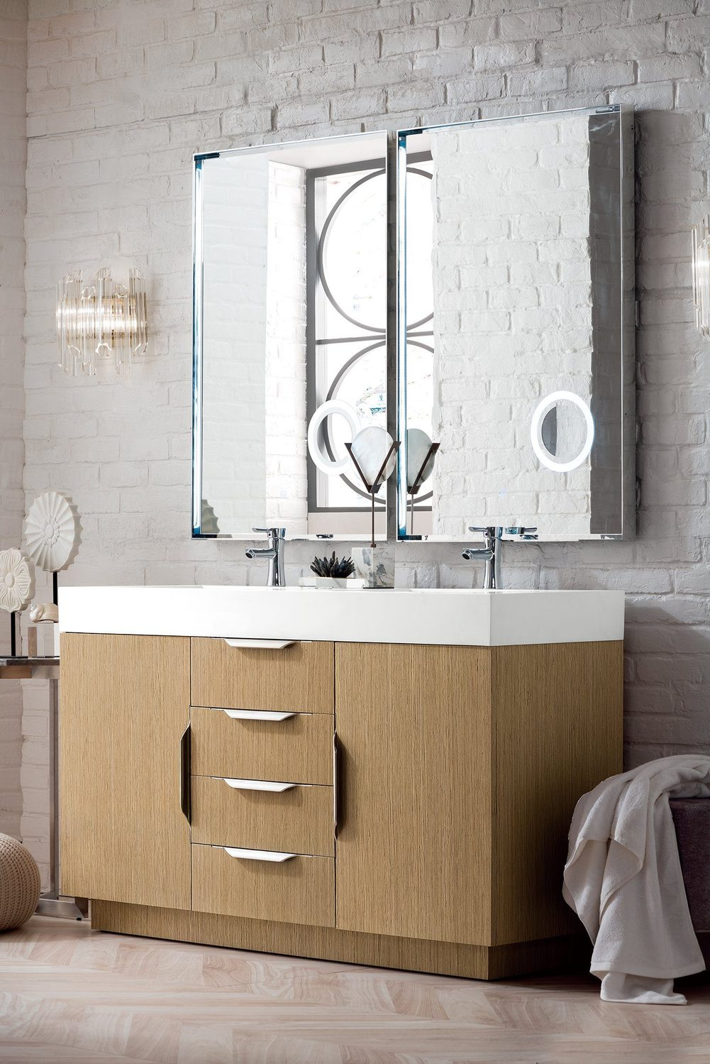 "59"" Bainbridge Double Bathroom Vanity, Tribeca Oak"