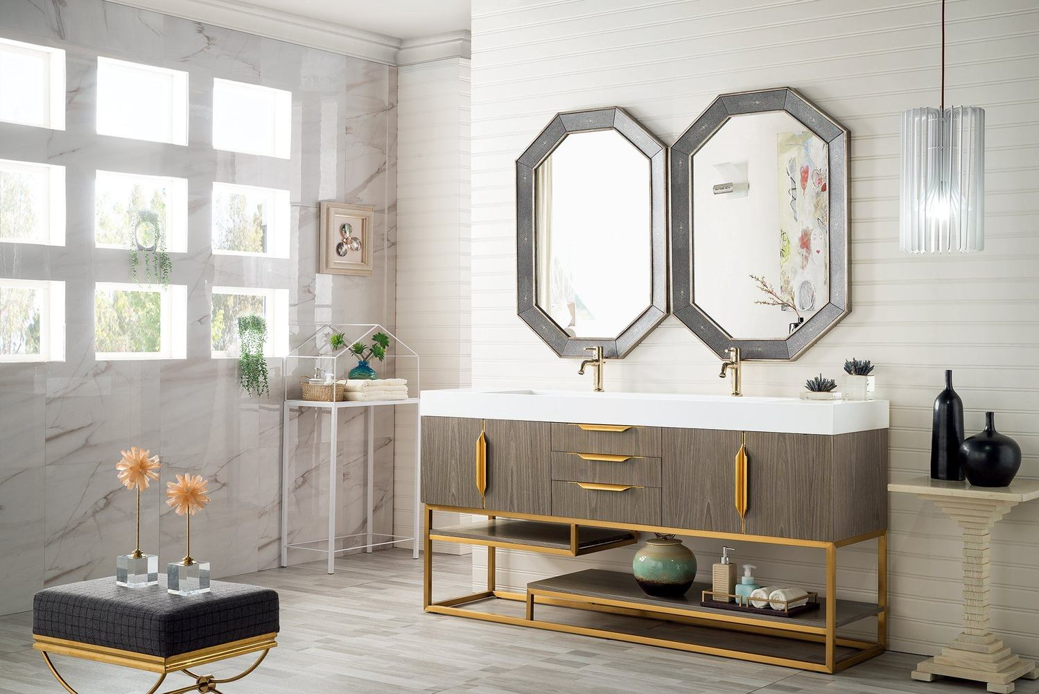 "72"" Columbia Double Bathroom Vanity, Ash Gray, Radiant Gold G388-V72-AGR-RG"