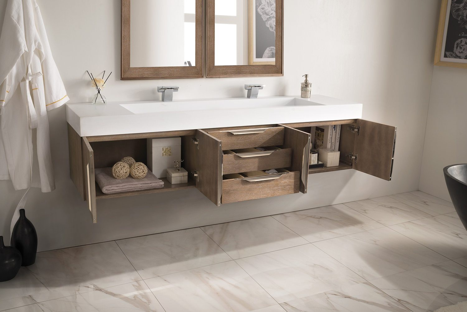 "72"" Mercer Island Latte Oak Double Sink Bathroom Vanity"
