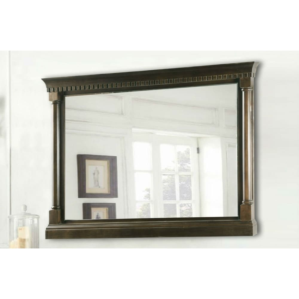 48 in. x 33 in. Framed Wall Mirror in Antique Coffee