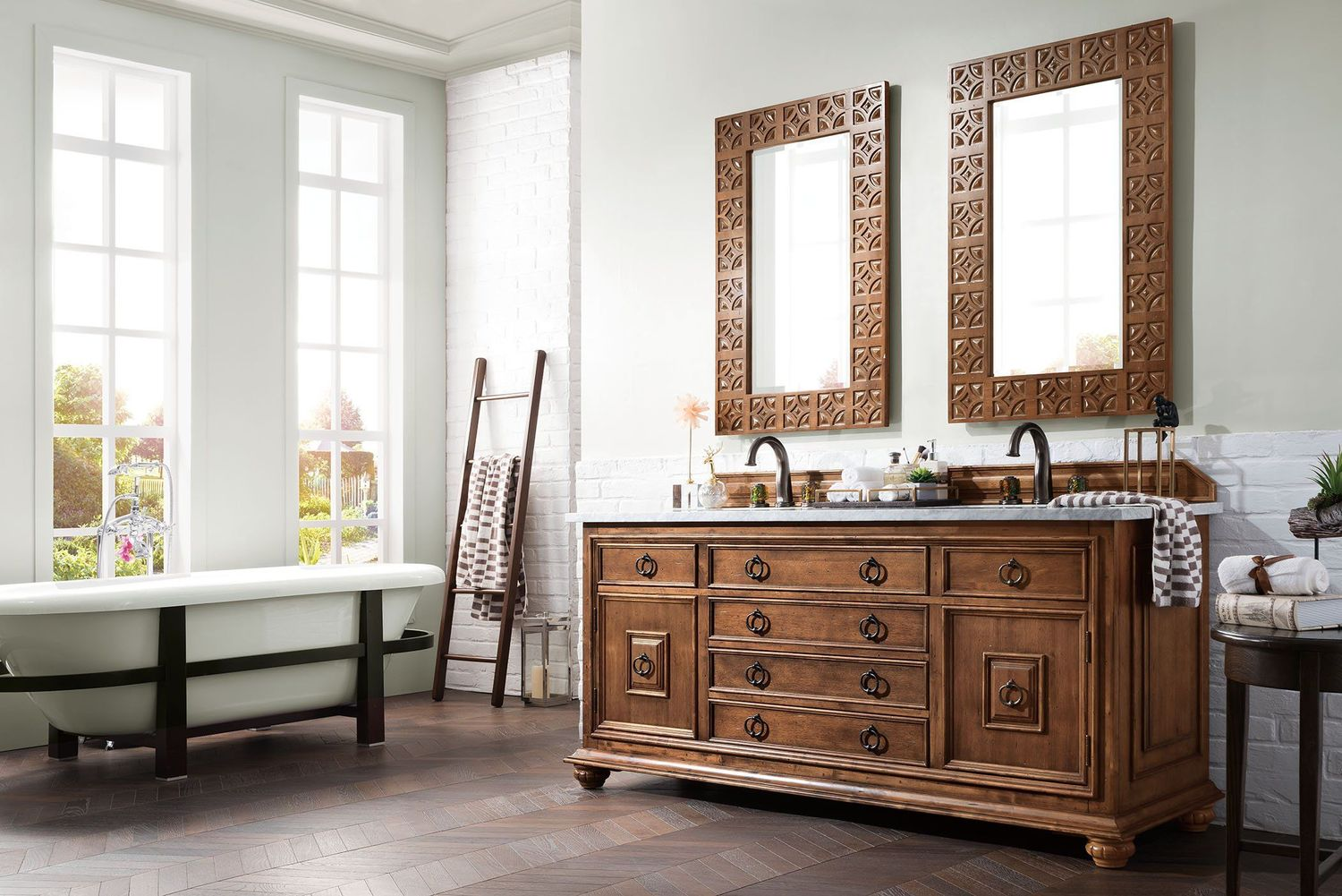 "72"" Mykonos Cinnamon Double Sink Bathroom Vanity"