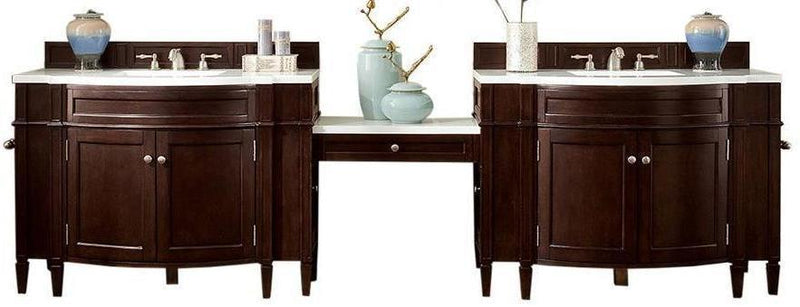 "118"" Brittany Burnished Mahogany Double Bathroom Vanity 650-V118-BNM-DU"
