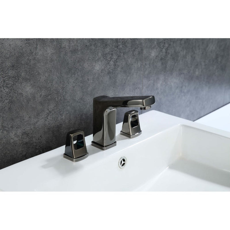 8 in. Widespread 2-Handle Bathroom Faucet with Push Down Pop-Up Drain in Glossy Black