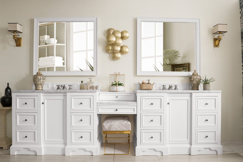 "118"" De Soto Bright White Double Sink Bathroom Vanity G825-V118-BW-DU"