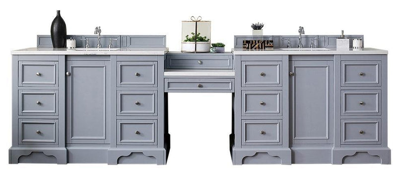 "118"" De Soto Silver Gray Double Sink Bathroom Vanity G825-V118-SL-DU"