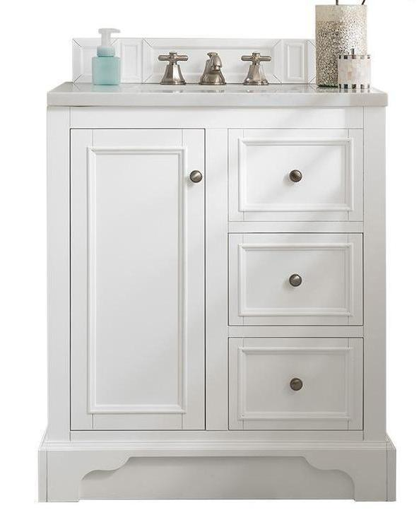 "30"" De Soto Bright White Single Sink Bathroom Vanity"