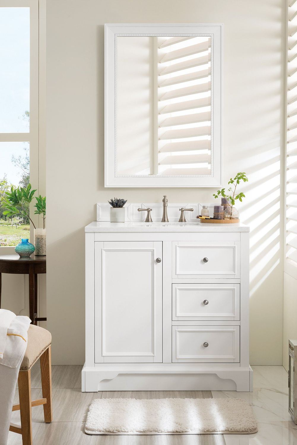 "36"" De Soto Bright White Single Sink Bathroom Vanity"