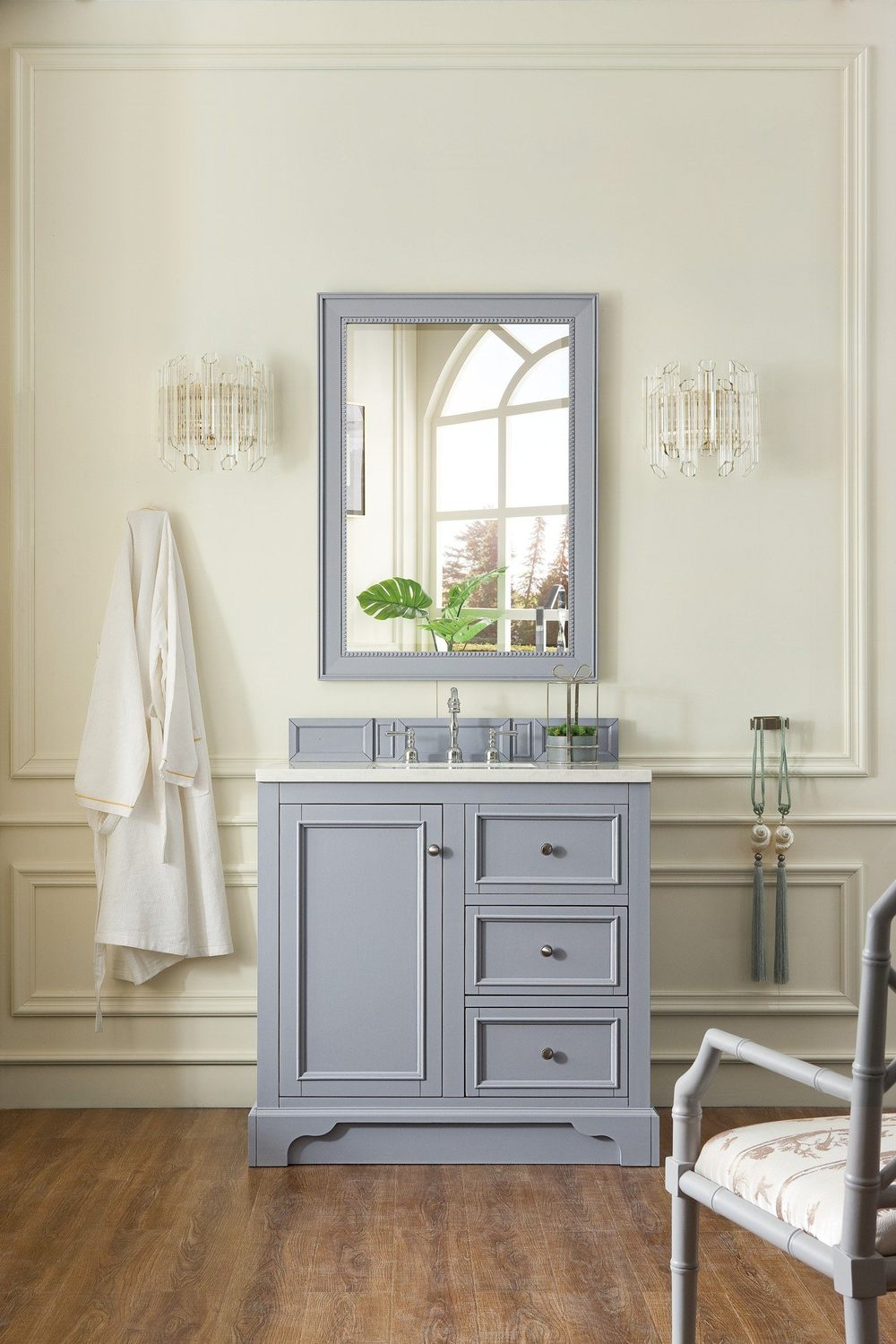"36"" De Soto Silver Gray Single Sink Bathroom Vanity"