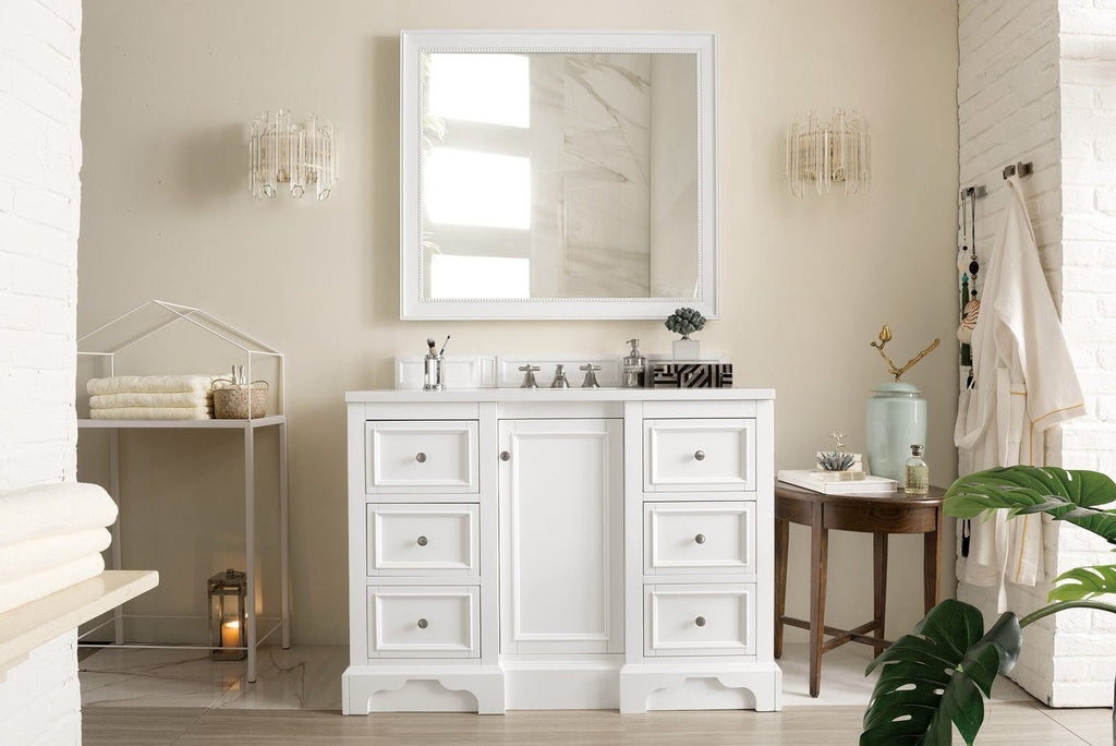 "48"" De Soto Bright White Single Sink Bathroom Vanity"