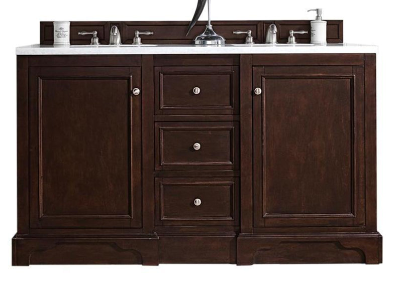 "60"" De Soto Burnished Mahogany Double Sink Bathroom Vanity"