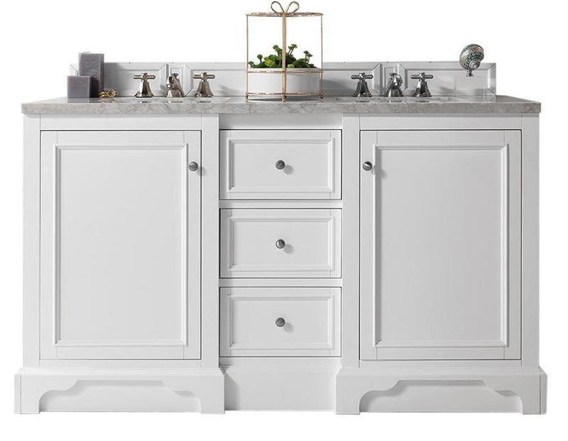 "60"" De Soto Bright White Double Sink Bathroom Vanity 825-V60D-BW"