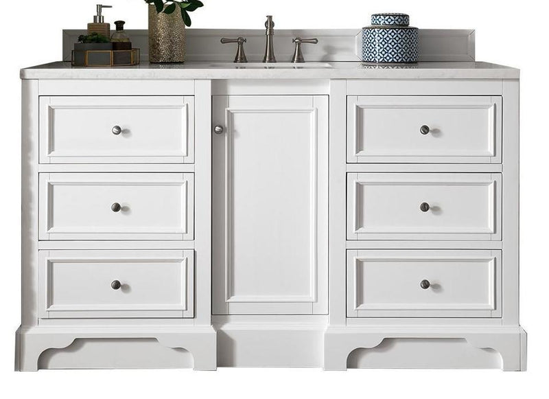 "60"" De Soto Bright White Single Sink Bathroom Vanity"