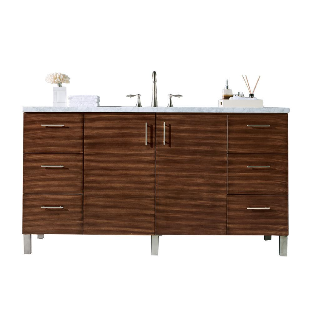 "60"" Metropolitan American Walnut Single Sink Bathroom Vanity"
