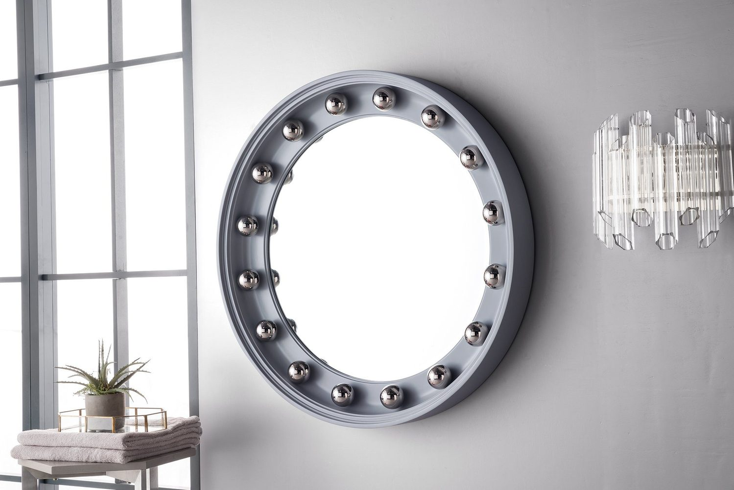 "Halo 36"" Mirror, Silver Gray with Chrome 923-M36-SL-C"