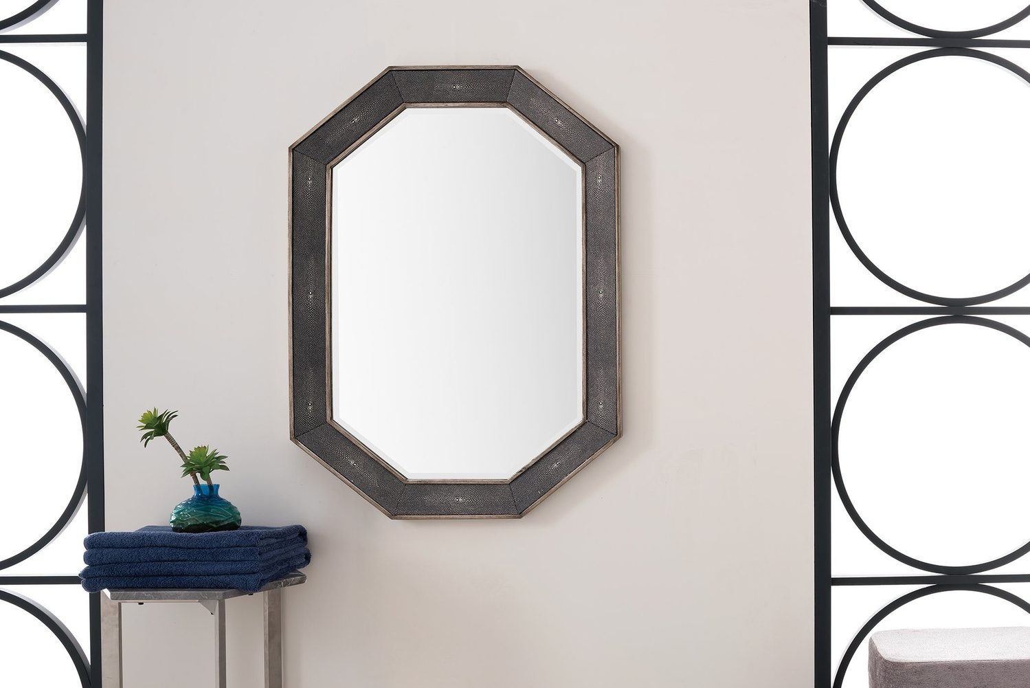 "Tangent 30"" Mirror, Silver with Charcoal 963-M30-SL-CH"