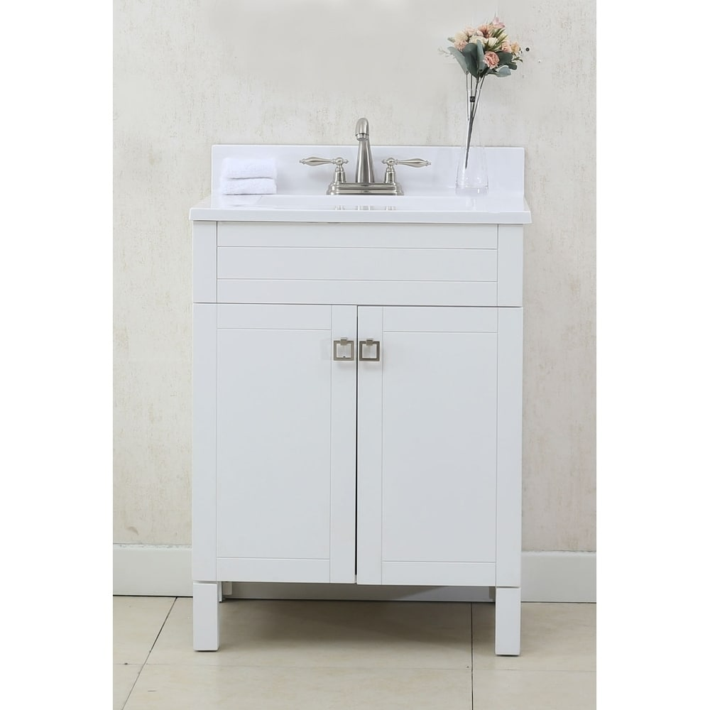Legion Furniture 25 in Bathroom vanity in White with Porcelain Top