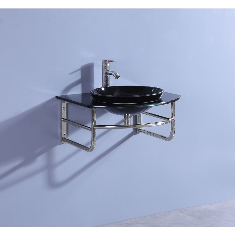 Legion Furniture Black Glass/Stainless Steel 25-inch Single Bathroom Vanity Set