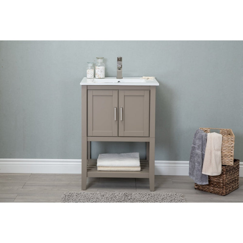 24in Bathroom Vanity in Gold Gray with Ceramic Top