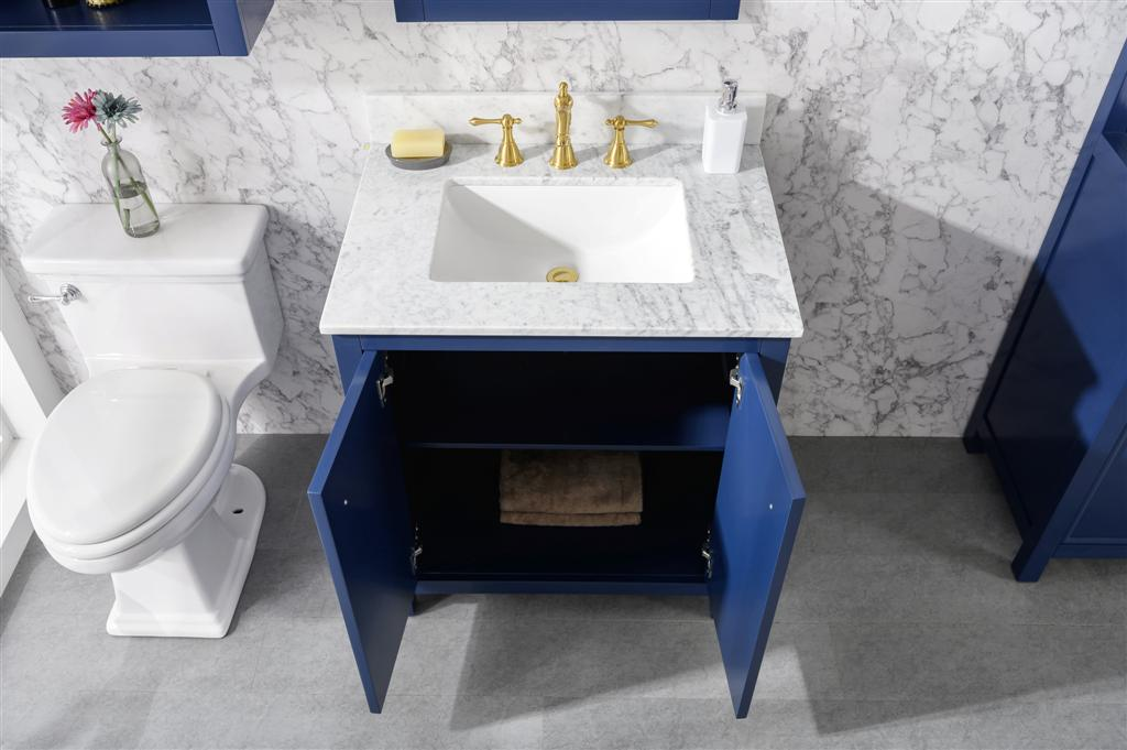 30 in. W x 22 in. D Vanity in Blue with Marble Vanity Top in White with White Basin with Backsplash