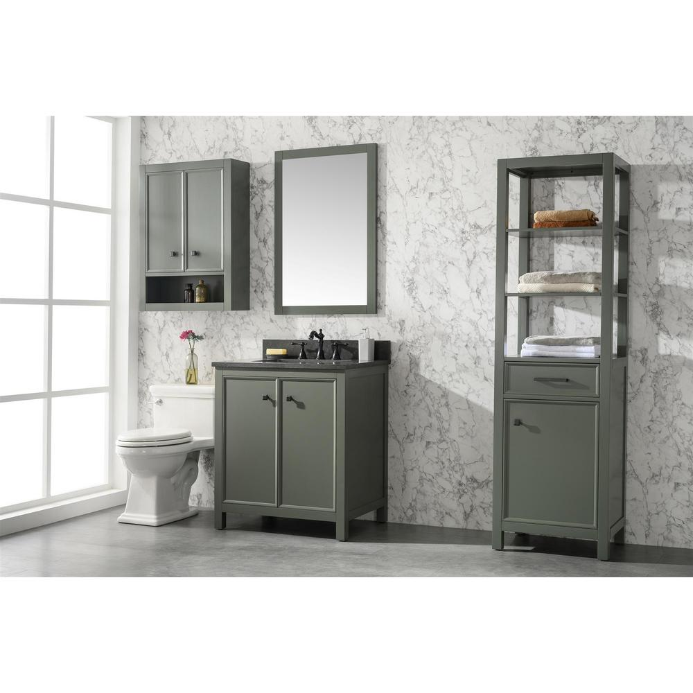 30 in. W x 22 in. D Vanity in Pewter Green with Marble Vanity Top in White with White Basin with Backsplash