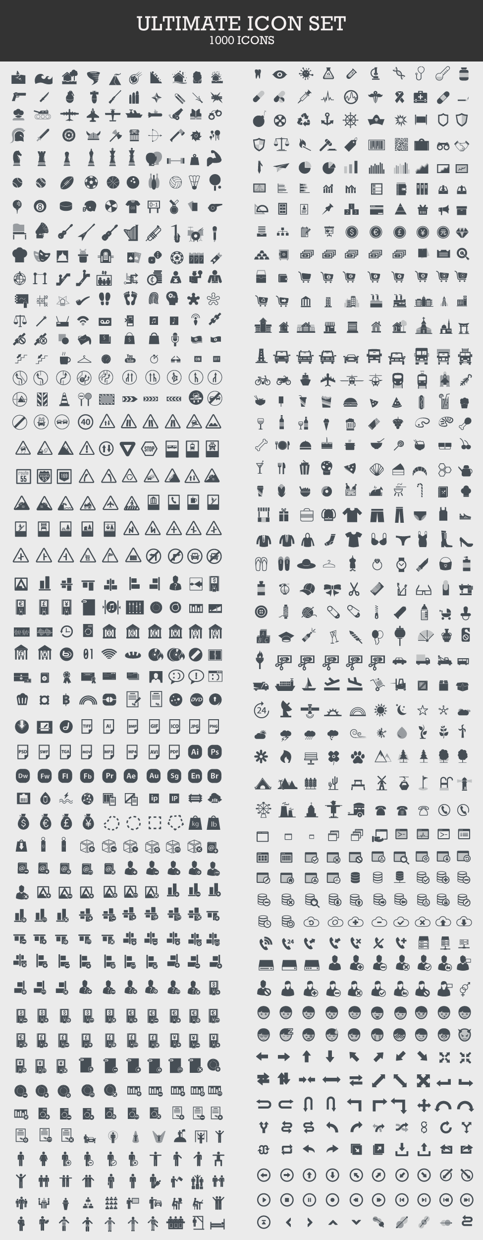 Ultimate Icon Set of 1000 Vector Icons