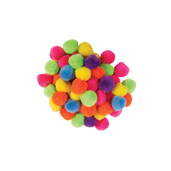 "1"" Pon poms, assorted colours - 40 pack"