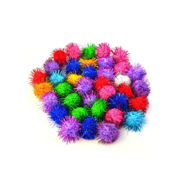 "1/2"" Pon poms, glitter, assorted colours - 85 pack"