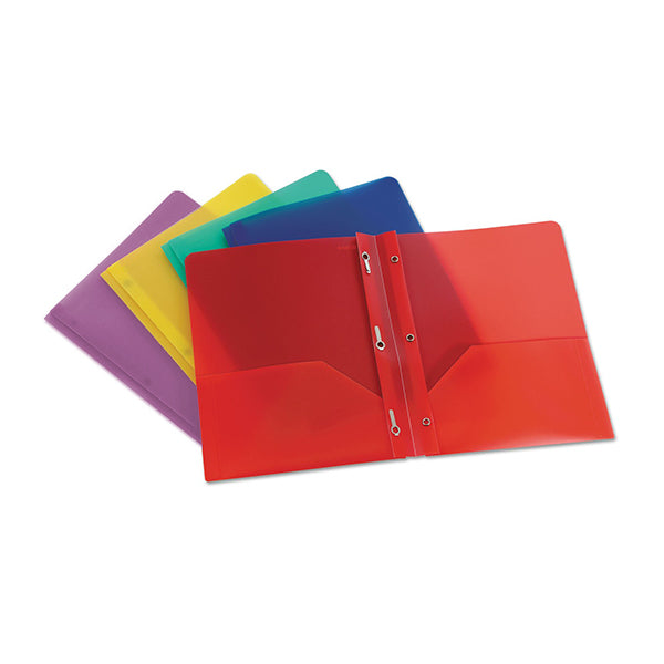 Poly twin pocket portfolio with tangs - assorted colours