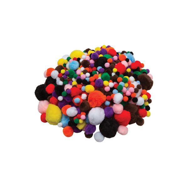 "1/4"" - 1"" Assorted Pon poms, assorted colours - 100 pack"