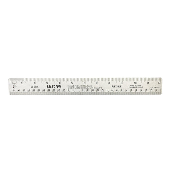 30cm stainless steel ruler w. cork back(cm & in gr)