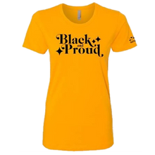 Load image into Gallery viewer, Ladies Black and Proud Gold Tee