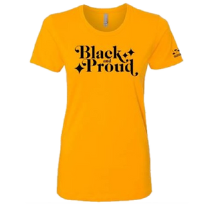Ladies Black and Proud Gold Tee