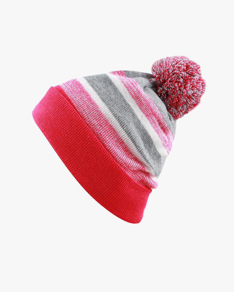 Kids Pom Pom Knit Stripe Beanie