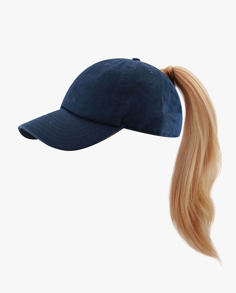 Washed Cotton Low Profile Ponytail Cap
