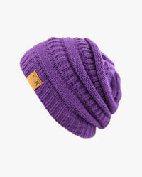 Solid Color Stretch Cable Knit Chunky Beanie