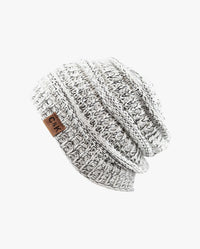 Two Tone Stretch Cable Knit Chunky Beanie
