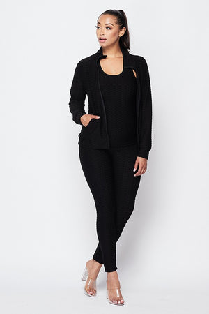On The Go 3-PC Jogging Suit - Black - Impulsive Fashion