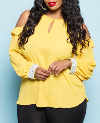 Honey Bee - Cold Shoulder Blouse - Impulsive Fashion