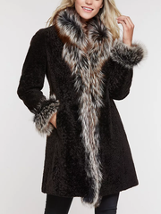 Elegant two-faced lamb and fox trimmed fur coat