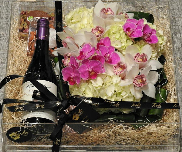 Nuts & Wine Flower Box - Tooka Florist
